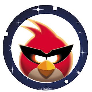 Toppers o Etiquetas de Angry Birds en el Espacio de para Imprimir Gratis.