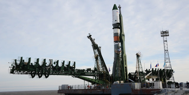Soyuz 2.1a rocket with the Progress MS-2 spacecraft being installed at the launch pad. Photo Credit: RKK Energia