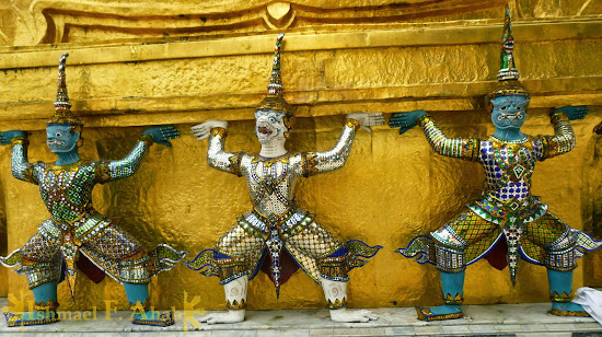 Demons carrying the temple in Bangkok Grand Palace