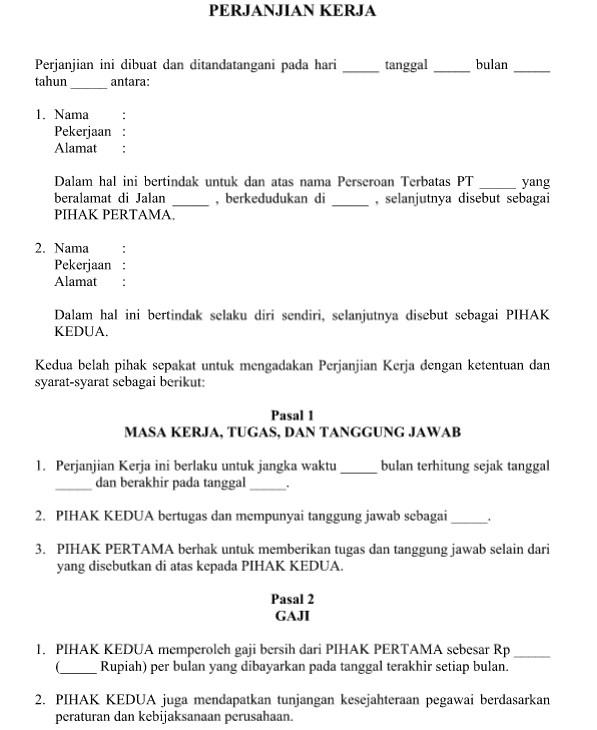 Surat Perjanjian Kerja Karyawan Tetap