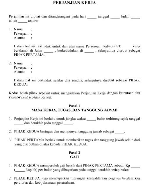 Contoh Surat Perjanjian Kerja Pegawai Kontrak Resmi Format Word