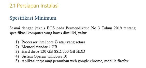 Spesifikasi Laptopnyang dibutuhkan untuk Dapodikdasmen 2019 c