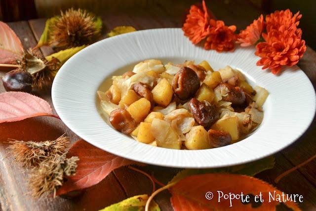Poelee aux chataignes, chou blanc et pommes de terre
