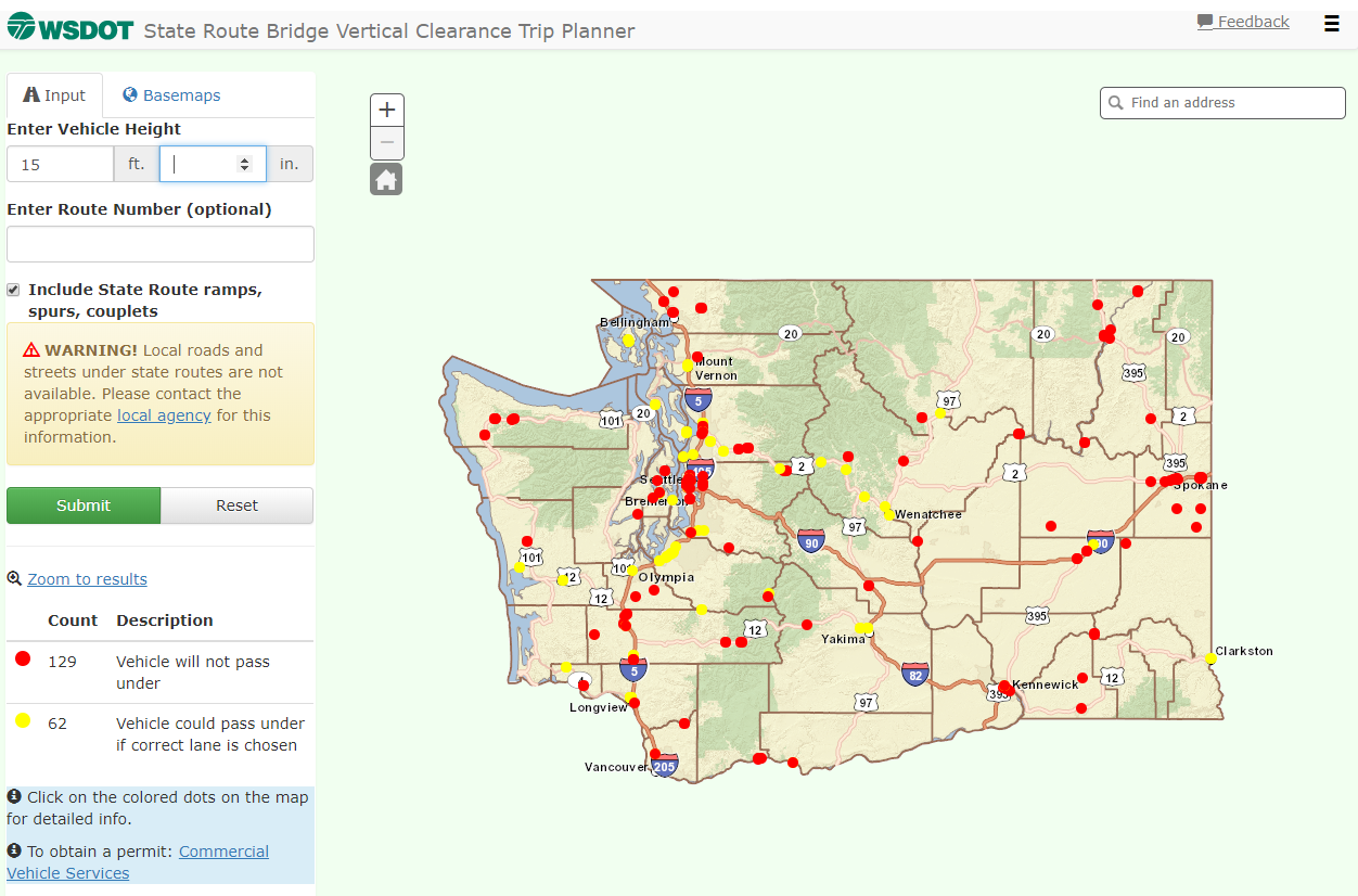wsdot s bridge vertical clearance trip planner identifies bridges truck drivers should avoid based on their vehicle