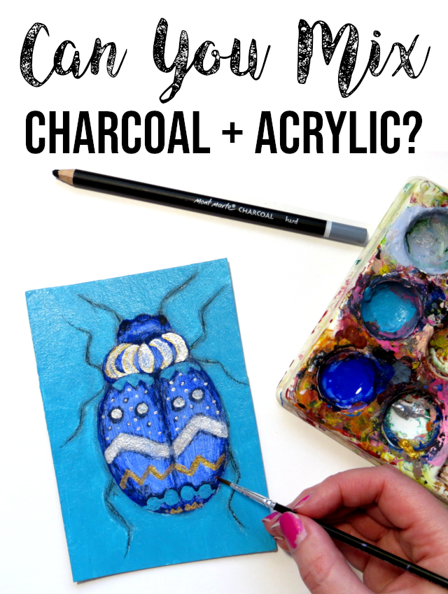 Have you ever wondered if you can mix charcoal and acrylic paint by painting acrylic over charcoal or drawing charcoal over acrylic? I tried it and here are the results. Read on to find out how to combine charcoal and acrylics into a mixed media painting without smudging the charcoal lines and the paint colors.