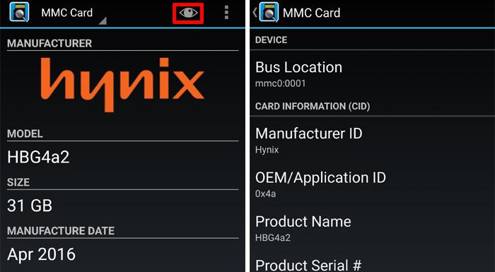 SD Insightで判別したeMMCメーカー