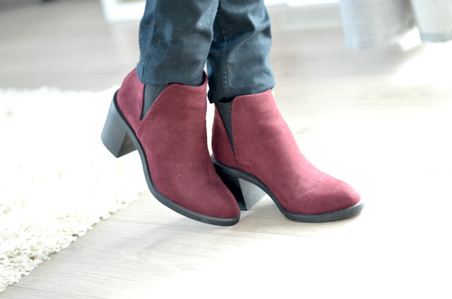 burgundy ankle boots faux suede fashion