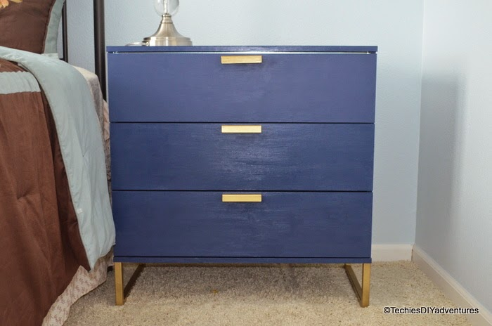 Blue Dresser, blue and gold dresser, Ikea TRYSIL Dresser makeover inspired by One Kings lane dresser, Ikea TRYSIL Dresser makeover