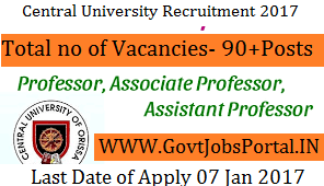 Central University Recruitment for 90+ Assistant Professor Posts 2017