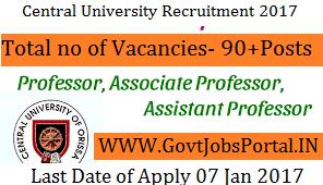 Central University Recruitment for 90+ Assistant Professor Posts 2017
