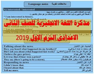 مذكرة اللغة الانجليزية للصف الثانى الاعدادى الترم الاول pdf