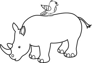 Cute Baby Rhino Coloring Pages