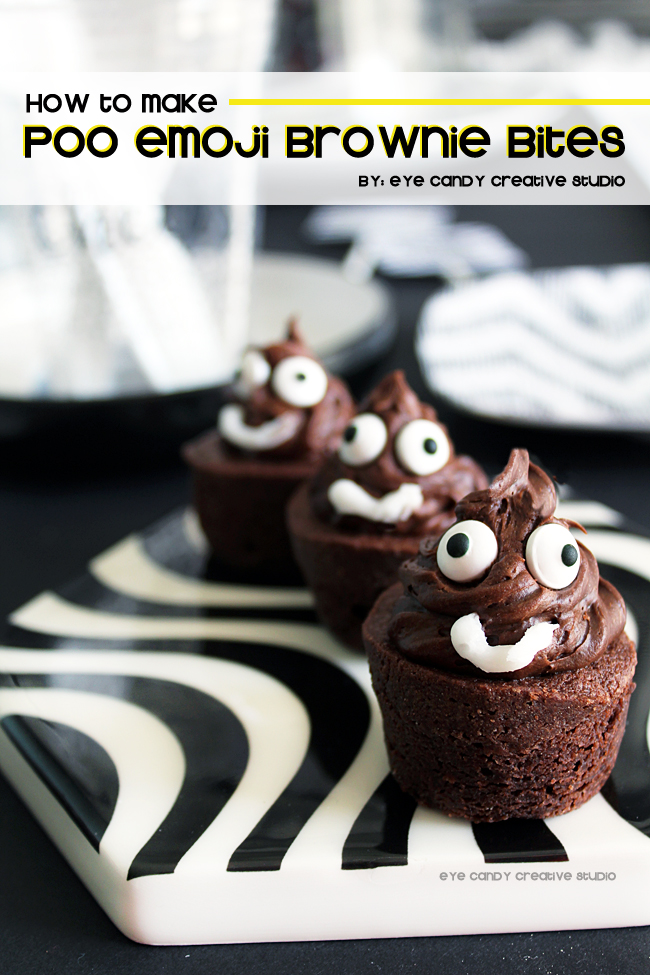 dessert idea for emoji party, poo emoji broenies, poo emoji, emoji party