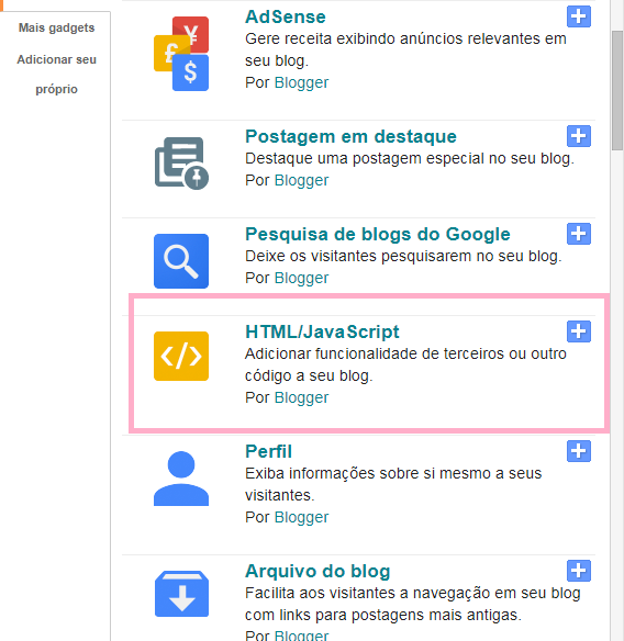 Como adicionar links de redes sociais no blog
