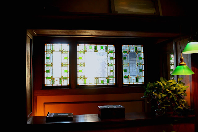 Stained glass windows in the Frank Lloyd Wright home were stunning and incorporated nature and geometry.