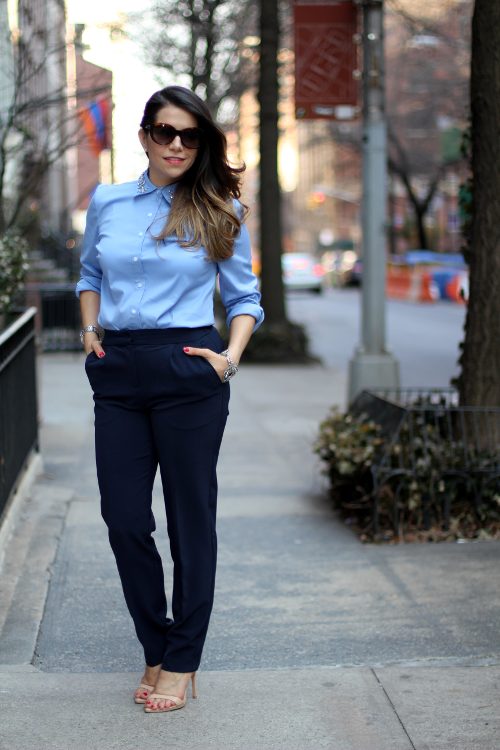 4248354c Fashion Mania: What to Wear to Work | Button Down with Jeweled Collar