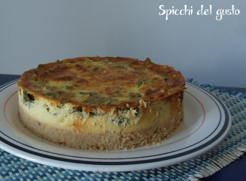 Cheesecake salata con carciofi e robiola