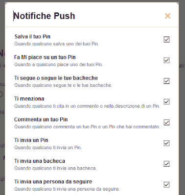 Notifiche push pinterest