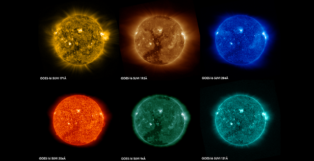 These images of the sun were captured at the same time on January 29, 2017 by the six channels on the SUVI instrument on board GOES-16 and show a large coronal hole in the sun's southern hemisphere. Each channel observes the sun at a different wavelength, allowing scientists to detect a wide range of solar phenomena important for space weather forecasting. Credits: NOAA