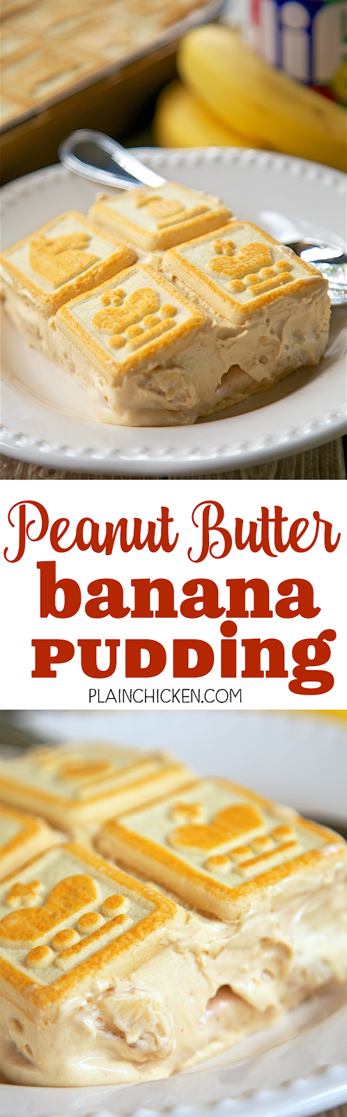 Peanut Butter Banana Pudding - peanut butter and bananas never tasted so good! Great dessert for a crowd! Can make ahead of time and refrigerate (it actually gets better the longer it sits). Chessmen cookies, bananas, milk, pudding, peanut butter, cream cheese, sweetened condensed milk and cool whip. Everyone always asks for the recipe!