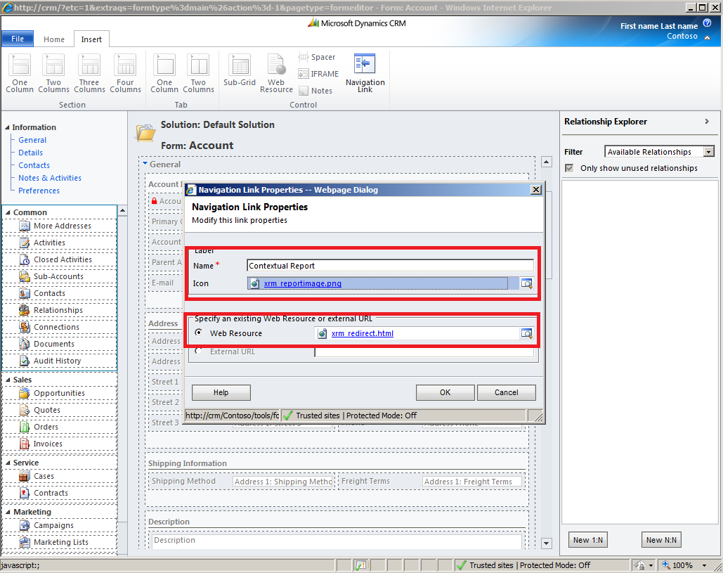MS CRM 2011: Embed context report to left navigation pane