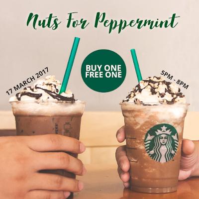 Starbucks Buy 1 Free 1 Nutty Peppermint Mocha or Nutty Peppermint Chocolate