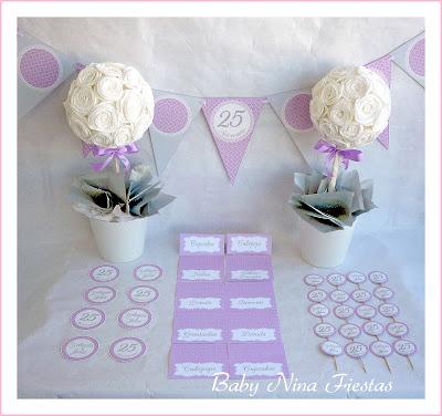 papelería personalizada mesa dulce Bodas de plata