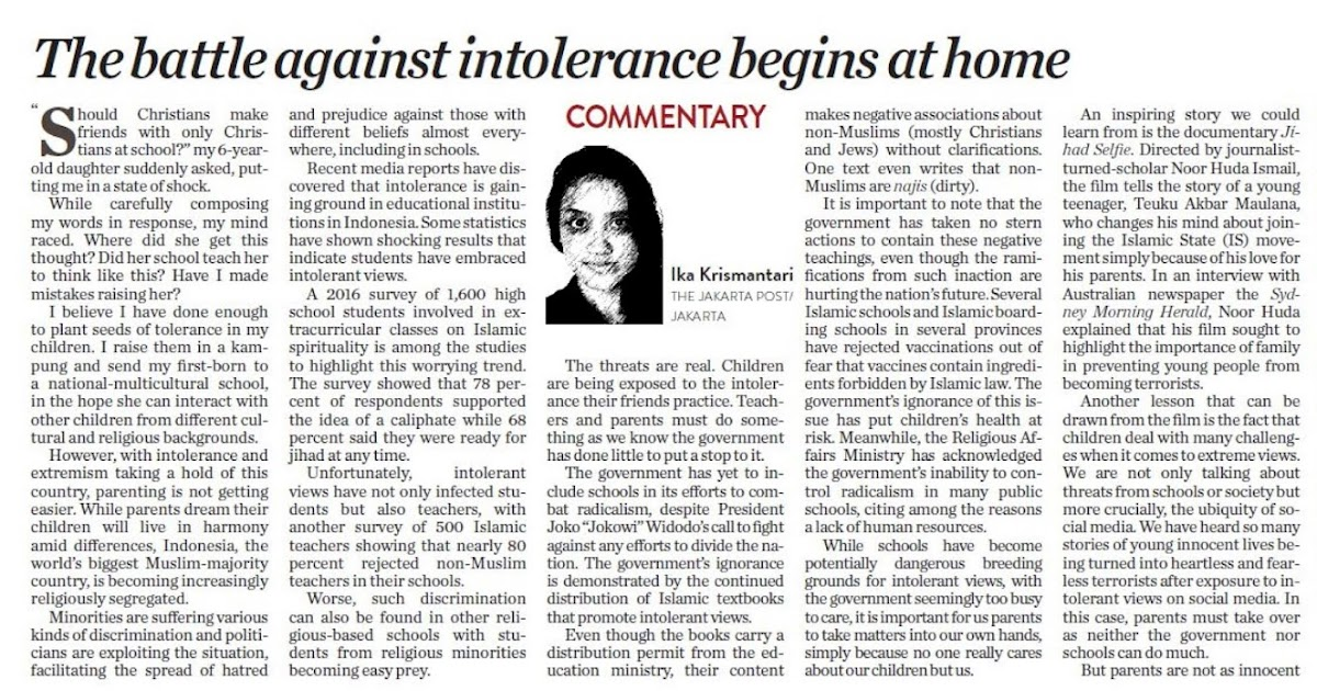 f0c9848b573 Commentary  The battle against intolerance begins at home