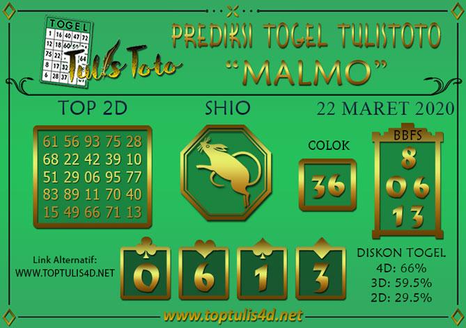 Prediksi Togel MALMO TULISTOTO 22 MARET 2020