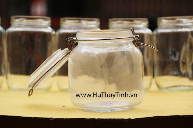 Binh lo thuy tinh 1 lit quai inox