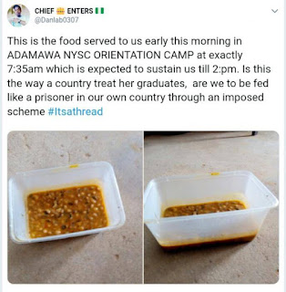 Are We To Be Fed Like Prisoners? – Corp Members Decries Poorly Served Food In Camp