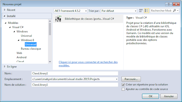 Visual Studio 2015 Community - Création d'applications universelles