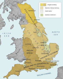 Danelaw - Mapa del territorio vikingo de Inglaterra