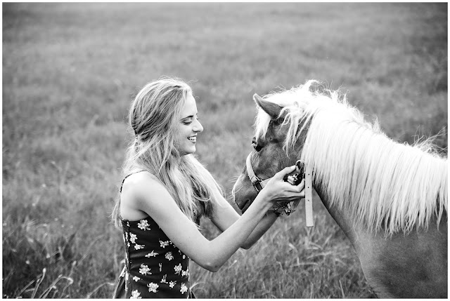 senior photo with miniature horse