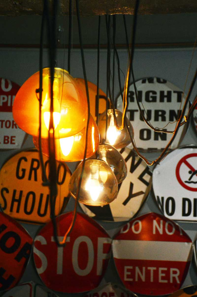 the urban newtown industrial decor hanging pendant lights road signs