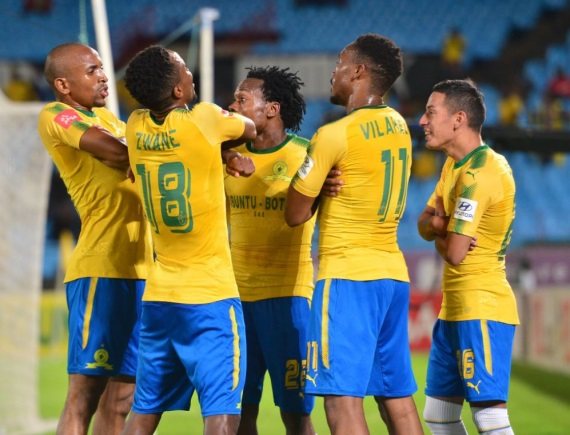 Mamelodi Sundowns players celebrating a goal