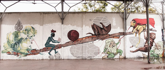 New Street Art Collaboration by Ericailcane, Bastardilla, Andreco, Hitness and Alleg on the streets of Rome, Italy. 2