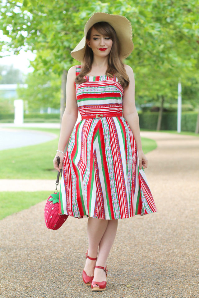 Red, white, green stripe true vintage 1950s sundress from Retruly