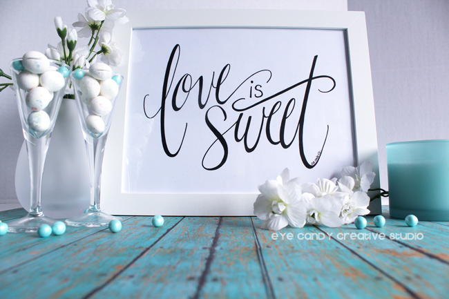 candy bar sign, wedding, shower, valentines day, hand lettering, pen and ink