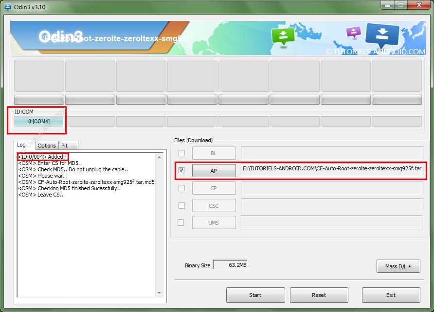 GALAXY S6 Edge+ : placer le fichier du ROOT dans ODIN