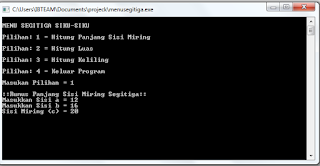 Program Menghitung Luas,Keliling,Sisi Miring Segitiga Pada C++