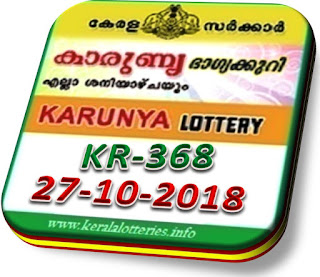 Live kerala lottery result karunya kr 368 from keralalotteries.info 27/10/2018, kerala lottery result karunya-368 27 10 2018, kerala lottery results 27-10-2018, official karunya result by 4 pm KARUNYA lottery KR 368 results 27-10-2018, KARUNYA lottery KR 368, live KARUNYA   lottery KR-368, KARUNYA lottery, kerala lottery today result KARUNYA, KARUNYA lottery (KR-368) 27/10/2018, KR 368, KR 368, KARUNYA lottery KR368, KARUNYA lottery 27.8.2018,