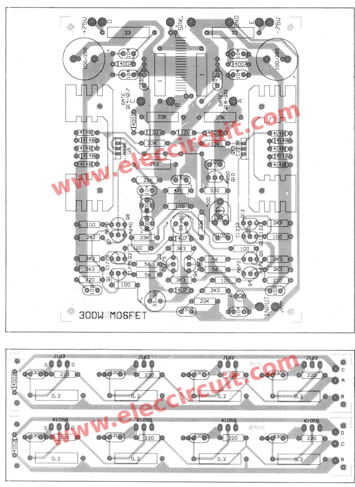 Belajar Electro 300 Watt Watt Mosfet Amplifier