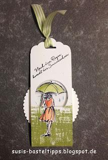 Drehkarte als Lesezeichen mit stampin up stempelset donnerwetter und mit stil von demonstratorin in coburg