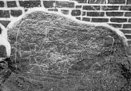 Wolgast - kościół Św. Piotra - drugi wmurowany w świątynie kamień przedstawiający słowiańskiego boga Jarowita - stare zdjęcie
