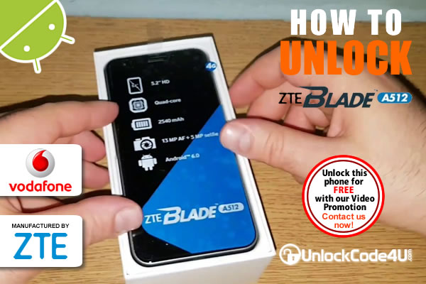 Factory Unlock Code ZTE Blade A512 from