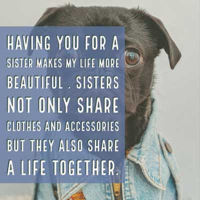 Having you for a sister makes my life more beautiful . Sisters not only share clothes and accessories but they also share a life together.