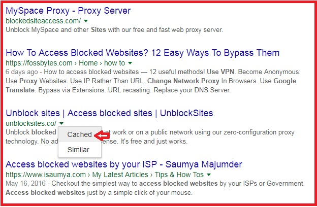 How to unblock restricted websites 100 access techniquehow google cached version ccuart Image collections
