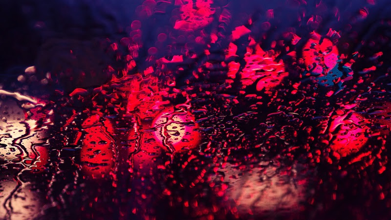 Red Lights in Cold Rain Drops