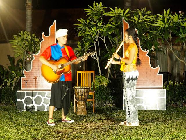 Local children performing Balinese music in Kubuku hotel, Pemuteran, Bali, Indonesia